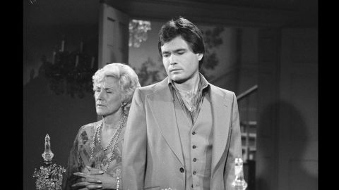 Jeanne Cooper as Katherine Chancellor and Beau Kayzer as Brock Reynolds in 1977.