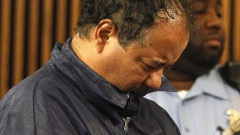Ariel Castro stands with his head down during his arraignment on kidnapping and rape charges on May 9 in Cleveland, Ohio.