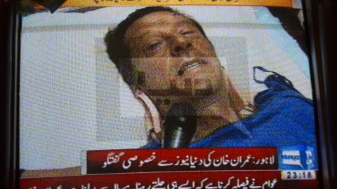 Another frontrunner for prime minister, Imran Khan, has been campaigning from his hospital bed after he was injured falling from a lift at a campaign rally on May 7.