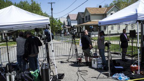 The media set up tents near Castro's home.