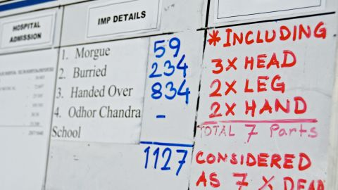 A white board at the recovery command center near the disaster is used to track the death toll on Monday, May 13.