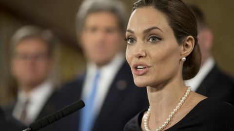 Actress Angelina Jolie, in her role as UN envoy, talks during a news conference regarding sexual violence against women in conflict, at the Foreign Ministers G8 meeting in Lancaster House on April 11, 2013 in London, England. G8 Foreign Ministers are holding a two day meeting where they will discuss the situation in the Middle East, including Syria and Iran, security and stability across North and West Africa, Democratic People's Republic of Korea and climate change. British Foreign Secretary William Hague will also highlight five key policy priorities.