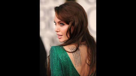 Jolie appears at the Golden Globe Awards in January 2011.