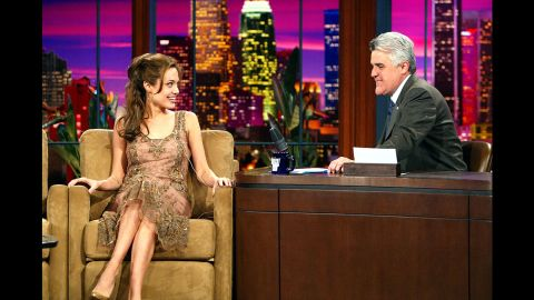 """Jolie appears on """"The Tonight Show with Jay Leno"""" in March 2004."""