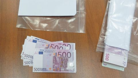 One photo released by the FSB shows what appears to be a large quantity of high-denomination euro currency notes.