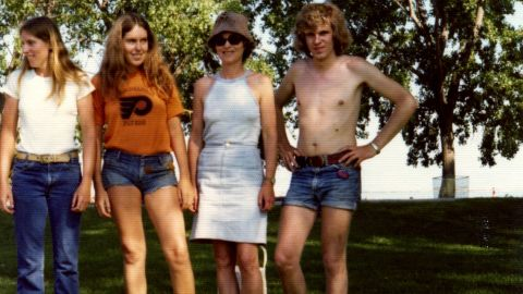 """Men were historically the ones promoting denim fashions, until <a href=""""http://ireport.cnn.com/docs/DOC-965235"""">cutoff denim shorts</a> came along. Barb Mayer, second from left, in 1974, says she would be embarrassed to wear such short shorts today."""