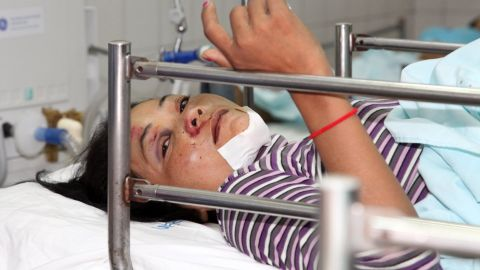 An injured worker receives medical treatment.