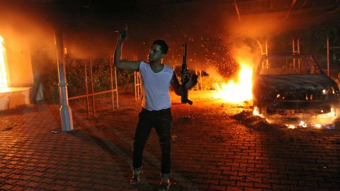 """Demonstrators set the <a href=""""http://www.cnn.com/2012/11/09/world/africa/libya-benghazi-timeline/index.html"""">U.S. Consulate compound in Benghazi, Libya,</a> on fire on September 11, 2012. The U.S. ambassador and three other U.S. nationals were killed during the attack."""