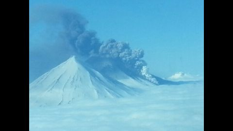 A view of the north side of the Pavlof Volcano erupting on Thursday taken by a pilot flying at 6,000 feet.