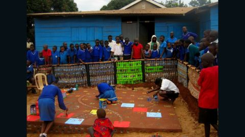 A huge board game built inside the school yard in Acholi Quarters, Kireka.