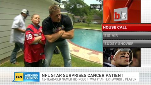 J.J. Watt hanging out with a cancer patient and fan in 2013.