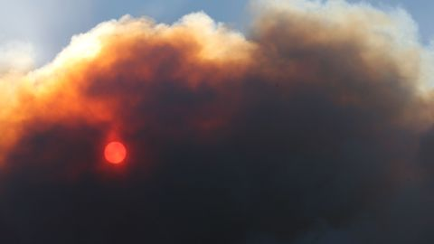 Smoke rises from forest fires in California. It's believed that forest fires in Canada caused the day of darkness in 1780.