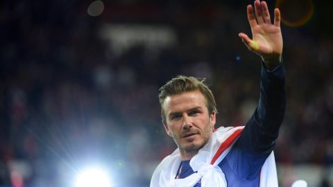 """Beckham waves after PSG played Brest in<a href=""""http://www.cnn.com/2013/05/18/sport/football/football-psg-beckham-farewell-game/index.html?hpt=hp_t2"""" target=""""_blank""""> his final home match</a> in May. Beckham had <a href=""""http://news.blogs.cnn.com/2013/01/31/beckham-to-join-paris-saint-germain-club-says/"""">signed on with the team</a> just a few months prior to his <a href=""""http://www.cnn.com/2013/05/16/sport/football/david-beckham-retires-football/index.html?hpt=hp_t2"""">retirement.</a>"""