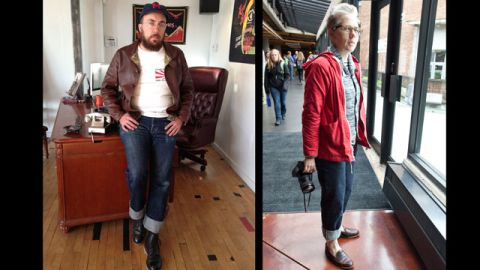 """Recent years have seen a revival of appreciation for untreated denim common in the days of Jacob Davis and Levi Strauss. Today, however, purists like Tyler Madden, left, and <a href=""""https://twitter.com/archcloth"""" target=""""_blank"""" target=""""_blank"""">Lesli Larson</a> (who both work in the apparel industry), favor raw denim from Japan, including their beloved <a href=""""http://www.selfedge.com/shop/index.php?main_page=index&cPath=65"""" target=""""_blank"""" target=""""_blank"""">1947 Sugar Cane denim</a>. """"They are simple, unadorned, and fill the role of classic blue jean better than any other pants that can be bought today,"""" said Madden. Larson added, """"I feel like I could toss out the rest of my wardrobe and live in these pants for the next decade. """""""