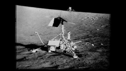 """Surveyor 3 spacecraft landed on April 20, 1967, to support the coming crew of Apollo 12. The objective of the Surveyor 3 was to provide data for research on """"soft landings."""""""
