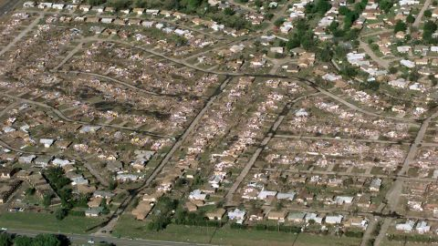 Destroyed homes lie in ruin in a section of Midwest City on May 5, 1999.