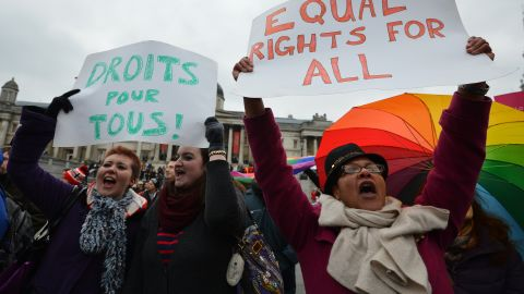 Demonstration for equal rights for gay couples in Trafalgar Square cental London on March 24, 2013.