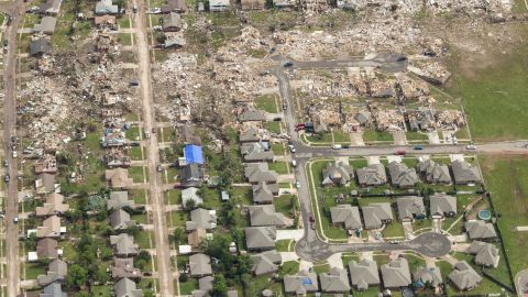 An aerial view of the destruction caused by the massive tornado that struck areas south of Oklahoma City on Monday, May 20, shows the magnitude of damage left in its path. The storm's winds topped 200 mph as it carved a 17-mile path of destruction through Oklahoma City suburbs. On Tuesday, May 21, CNN sent photographer David McNeese to capture the story from above: