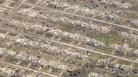 The storm, which touched down near Newcastle, Oklahoma, spanned 1.3 miles. Some areas along the path were completely flattened.