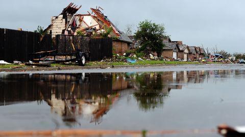 A devastated neighborhood is seen on May 23 in Moore.