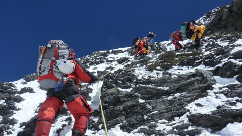 Leif Whittaker captured this photo as Dave Hahn ascends the rocky Geneva Spur between Camp 3 and Camp 4 in 2010. The following images feature his stunning photographry during 2010 and 2012 on Everest.