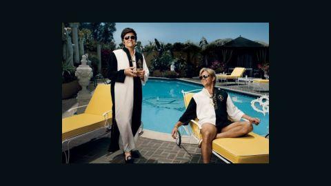 "Michael Douglas stars as Liberace and Matt Damon stars as Scott Thorson in ""Behind the Candelabra."""