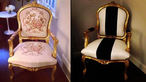 Hit estate sales for vintage finds like this baroque Louis XV Rococo style chair, which you can have reupholstered to suit your style.
