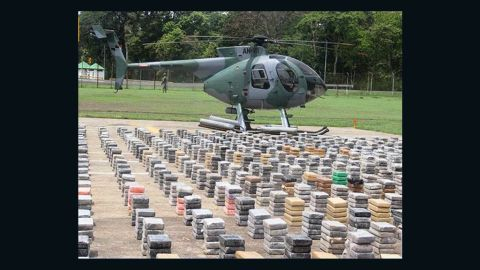 Bundles of cocaine worth about $445 million were displayed after Panamanian police seized the drugs Saturday.