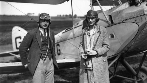 Earhart poses with Capt. A. N. White in Northolt, England, on June 20, 1928.