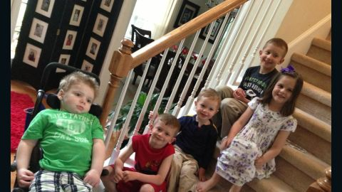 """In April, Tripp has a playdate with his cousins. """"I think he likes them being here. He is even moving his mouth like he wants to smile!"""" Halstead writes in one of her Facebook posts."""