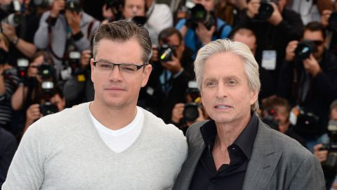 """Actors Matt Damon, left, and Michael Douglas attend the """"Behind The Candelabra"""" premiere during the 2013 Annual Cannes Film Festival in France. Douglas starred as Liberace in the Steven Soderbergh-directed TV movie, which is based on Scott Thorson's 1988 autobiographical novel, """"Behind the Candelabra: My Life With Liberace."""""""
