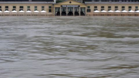 Floodwaters surround a restaurant in Prague on June 3.