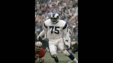 """Along with Rosey Grier, Lamar Lundy and Merlin Olsen, Jones formed one of the best lines of all time: the Fearsome Four. Rams fans nicknamed him """"Secretary of Defense."""" And in 1999, Sports Illustrated named him the """"Defensive End of the Century."""""""