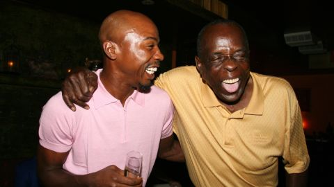 """Jones, right, with ex-basketball player Greg Anthony at a 2006 charity event in New York. In later years, Jones was a radio host and a spokesman for the blood pressure drug Atacand, and he started the <a href=""""http://www.deaconjones.com/"""" target=""""_blank"""" target=""""_blank"""">Deacon Jones Foundation</a> to mentor inner-city high school students."""