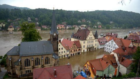 Torrential rains leave Wehlen, Germany, flooded on June 4.