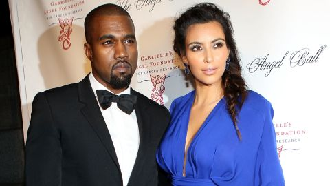 Kanye West and Kim Kardashian attend the Angel Ball in New York in 2012.