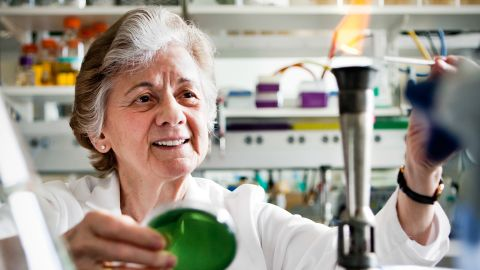 Rita Colwell, shown here in the laboratory, helped discover that simple filtration can be a key to reducing cholera.