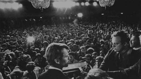 Sen. Kennedy gives a speech at the Ambassador Hotel in Los Angeles before his assassination, June 1968.