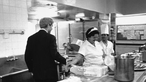 """""""Heading for his victory speech in the Ambassador Hotel ballroom, Robert Kennedy stops in the kitchen to shake hands. A few minutes later the gunman was waiting for him in the corridor just outside the kitchen."""""""
