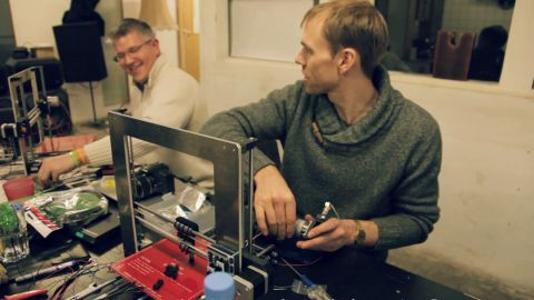 Sam Muirhead has decided to live for a year using or developing products and projects that are shared under open licenses. Wolf Jeschonnek, right, is the founder of the Berlin Fab Lab, the city's first open digital fabrication studio, which has recently started using 3D printing.