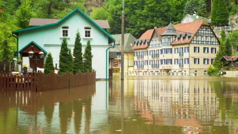 Flooded streets in Decin, northern Bohemia, on June 5.