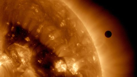 This image shows the Transit of Venus across the sun on June 6, 2012. The next transit will not happen till 2117