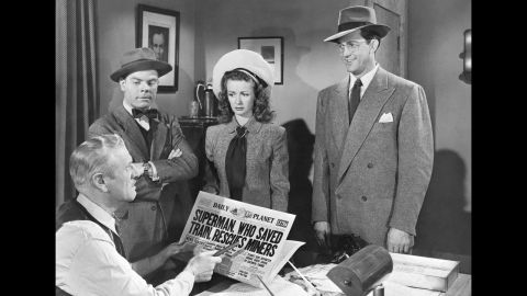 """Kirk Alyn, right, appears as Clark Kent in the 1948 serial """"Superman."""" It was the first live-action appearance of Superman on film."""