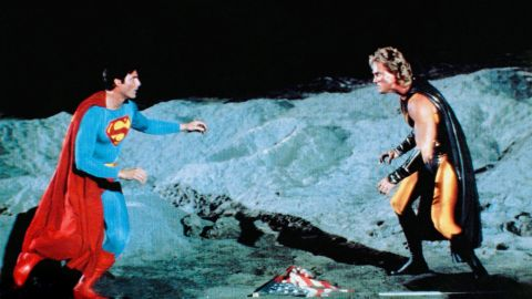 """Reeve reprises his role in 1987 for the fourth and final installment of the original Superman film series, """"Superman IV: The Quest for Peace."""" Mark Pillow, right, plays the part of Nuclear Man."""