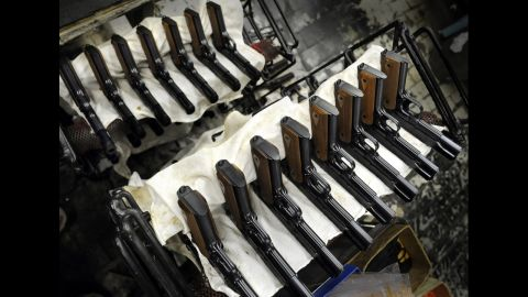Completed civilian Colt .45 model 11s await packaging and shipping.