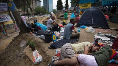 Protestors spend their day at Gezi Park on June 6.
