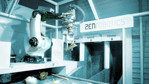 The ZenRobotics Brain control system combines the sensory data it gathers into an analysis of whether an item is wanted or not, then calculates the optimum way to grip it.