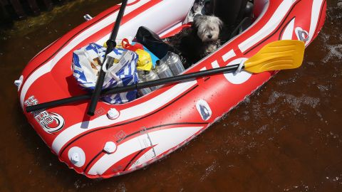 Chewbaca sits among groceries and bottles of butane in a rubber raft as his owner pulls him through a flooded street near the swollen Elbe River on June 7.
