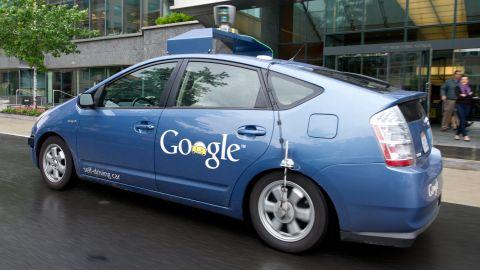 The Google self-driving car maneuvers through the streets of Washington