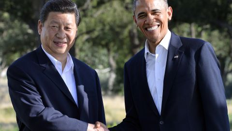President Barack Obama shakes hands with Chinese President Xi Jinping before their bilateral meeting at the Annenberg Retreat at Sunnylands in Rancho Mirage, California, on June 7.